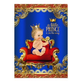 Red Royal Blue Gold Chair Prince Baby Shower Card