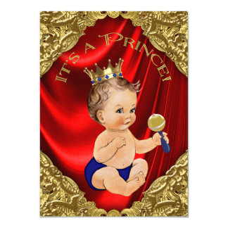 Red Royal Blue Gold Satin Prince Baby Shower Card