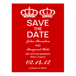 Red Royal Couple Save the Date Postcard