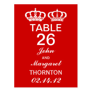 Red Royal Couple Table Numbers Postcard