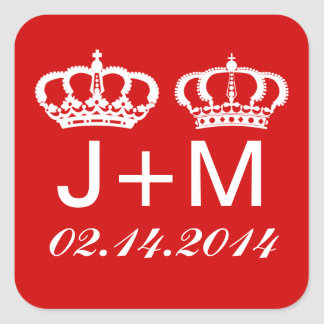 Red Royal Couple Wedding Favor Stickers