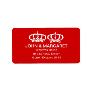 Red Royal Couple Wedding Label