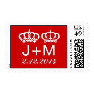 Red Royal Couple Wedding Postage Stamp