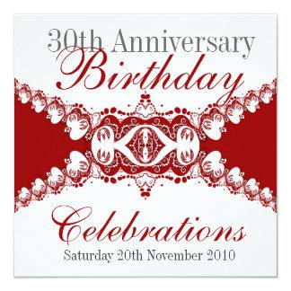 """Red Royal Diva Anniverary Birthday Invitations 5.25"""" Square Invitation Card"""