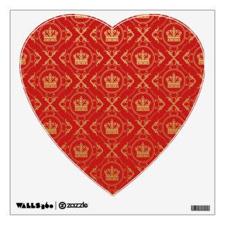 Red,royal,gold,pattern,damask,elegant,chic,modern, Wall Decal