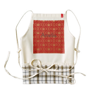 Red,royal,gold,pattern,damask,elegant,chic,modern, Zazzle HEART Apron