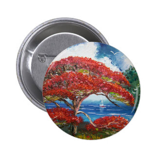 Red Royal Poinciana Tree and Sailboat Buttons