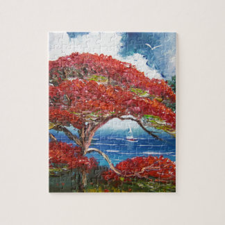 Red Royal Poinciana Tree and Sailboat Jigsaw Puzzle
