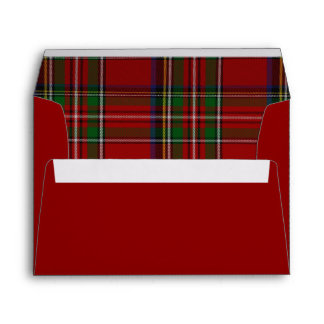 Red Royal Stewart Plaid Lined Christmas Envelope