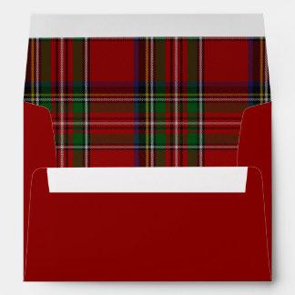 Red Royal Stewart Plaid Lined Christmas Envelope