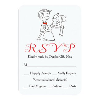Red RSVP Bride & Groom Black And White Wedding Card