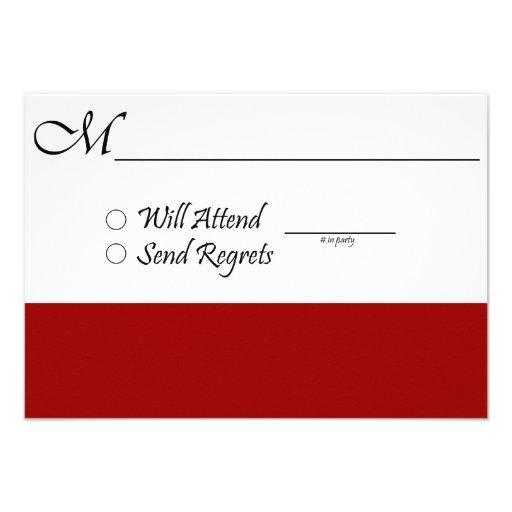 Red RSVP Card for Wedding or Graduation Custom Invites