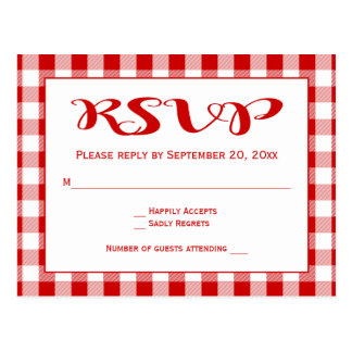 Red RSVP Gingham Plaid Checks Wedding Postcard
