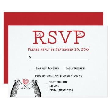 merrybrides Red RSVP Giraffe Burgundy Wedding Engagement Card