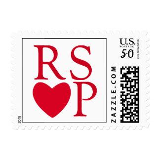 Red RSVP Heart Stamp
