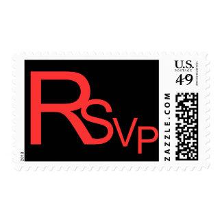 Red RSVP On Black Postage Stamp