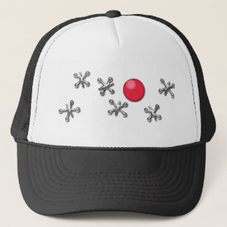 Red Rubber Ball and Jacks Trucker Hat