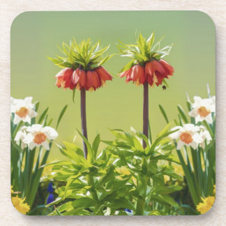 Red Rubra Tulips Cork Coaster