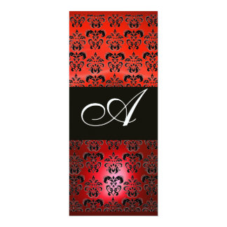 RED RUBY AND BLACK  DAMASK MONOGRAM , white Personalized Invite