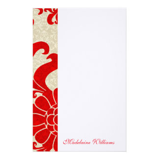 Red Ruby Damask Vintage Themed with Name Stationery