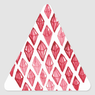 Red Ruby Diamond- Above Rubies Abstract Art Design Triangle Sticker