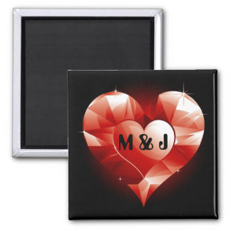 Red Ruby Heart Monogram 2 Inch Square Magnet