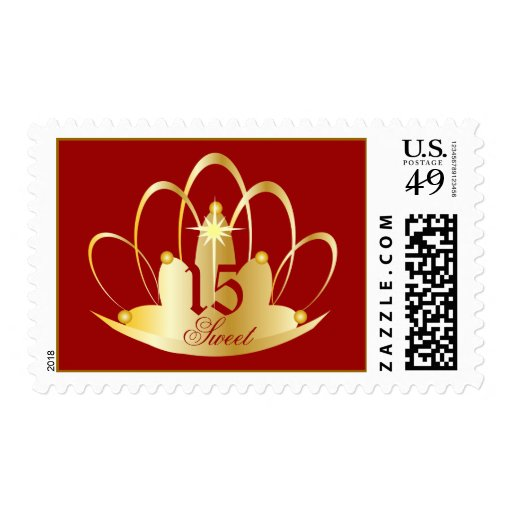 Red Ruby Sweet Fifteen Tiara-Customize Stamps