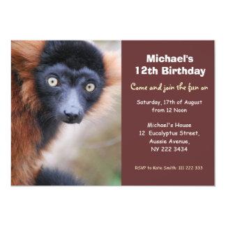 "Red Ruffed Lemur Birthday Party Invitation 5"" X 7"" Invitation Card"