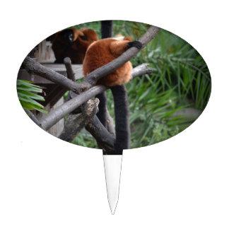 red ruffed lemur c animal on branch back hand cake topper