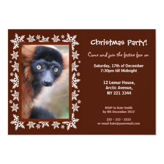 Red Ruffed Lemur Christmas Party Invitation