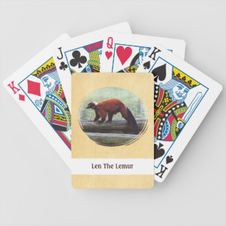 Red Ruffed Lemur Playing Cards at Zazzle