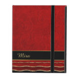 Red Ruffled Damask Custom iPad Case