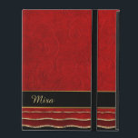 """Red Ruffled Damask Custom iPad Case<br><div class=""""desc"""">Chic iPad 2/3/4 folio style case done in a red on red floral damask pattern. Graphics of red and gold edged ruffles line the bottom, of the case, with a black and gold band above it. Personalize the golden yellow text for yourself or as a great gift idea. Lovely way...</div>"""