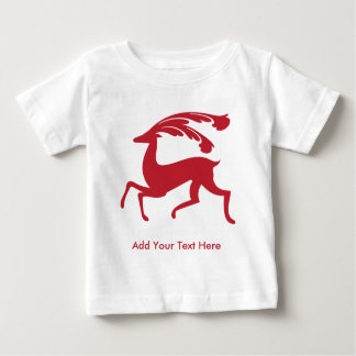 Red Running Christmas Deer Baby T-Shirt