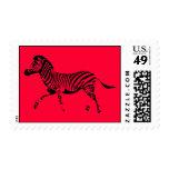 Red Running Zebra Stamp
