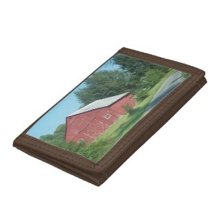 Red Rural Barn Trifold Wallet
