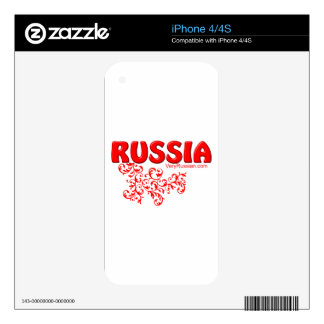 Red Russian design Decal For The iPhone 4