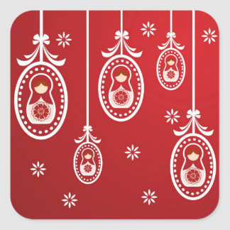 Red Russian Doll Christmas Stickers