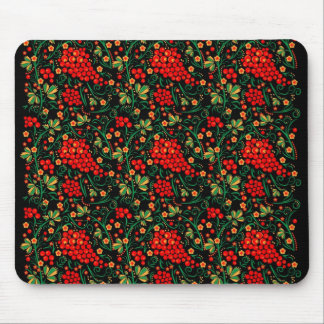 Red Russian Kokhloma Design Mouse Pad