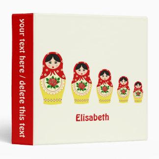 Red russian matryoshka nesting dolls binder