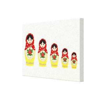 Red russian matryoshka nesting dolls canvas print