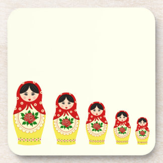 Red russian matryoshka nesting dolls drink coaster
