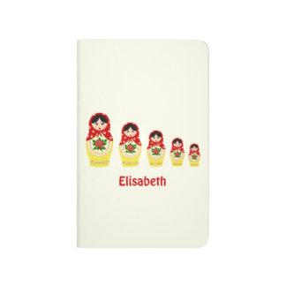 Red russian matryoshka nesting dolls journal