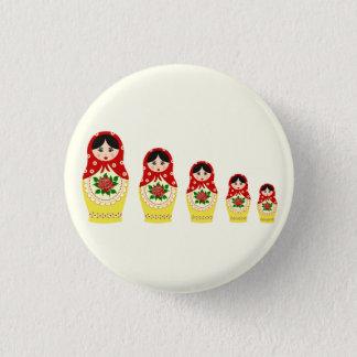 Red russian matryoshka nesting dolls pinback button