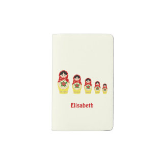 Red russian matryoshka nesting dolls pocket moleskine notebook