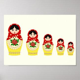 Red russian matryoshka nesting dolls poster