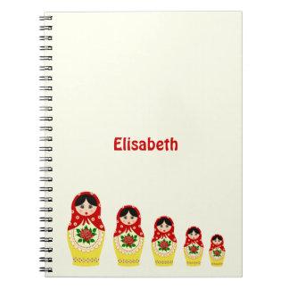 Red russian matryoshka nesting dolls spiral notebook