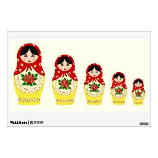 Red russian matryoshka nesting dolls wall sticker