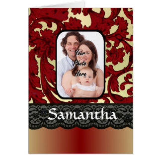 Red rust damask card