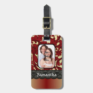 Red rust damask luggage tag
